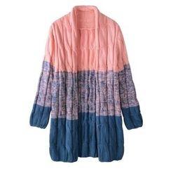 FR - Color Block Cable-Knit Long Cardigan