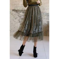 migunstyle - Band-Waist Tulle Skirt