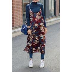 migunstyle - Spaghetti-Strap Floral Print Dress