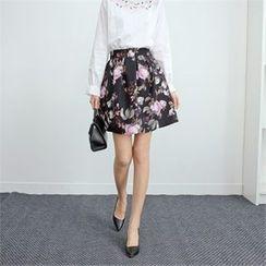 Styleberry - Floral Print A-Line Skirt