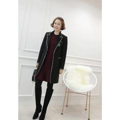 Lemite - Wool Blend Contrat-Trim Coat