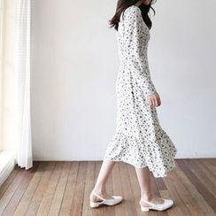 Hello sweety - Floral Print Ruffle-Hem Maxi Dress