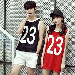 Azure - Couple Matching Numbering Tipped Tank Top