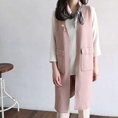 Hello sweety - Open-Front Knit Long Vest