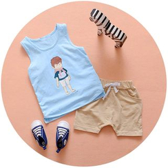 POMME - Kids Set: Print Tank Top + Shorts