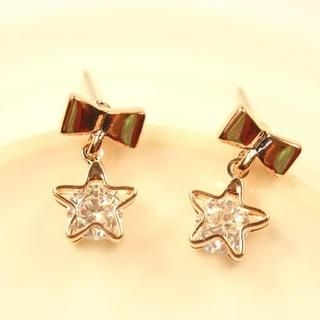 Supermary - Rhinestone Bow Drop Earrings