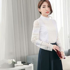 Tokyo Fashion - Lace Panel Stand Collar Blouse