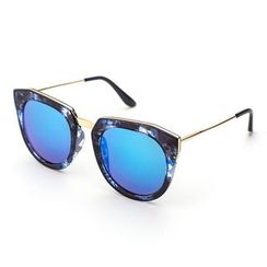 Biu Style - Thick Frame Mirrored Sunglasses