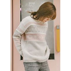 GOROKE - Crew-Neck Patterned Knit Top