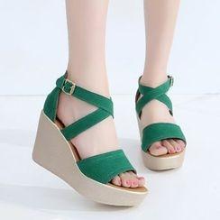 Hannah - Faux-Suede Platform Wedge Sandals