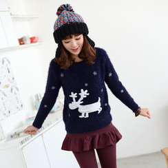 59 Seconds - Elk-Appliqué Furry Sweater