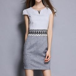 Merald - Short-Sleeve Color Block Sheath Dress