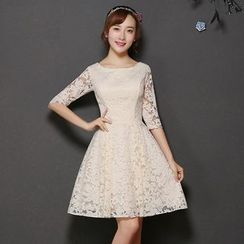 Fantasy Bride - Lace Panel Elbow-Sleeve Bridesmaid Dress