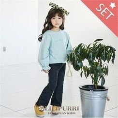 LILIPURRI - Girls Set: Frill-Cuff Lettering Pullover + Boot-Cut Jeans