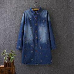 Blue Rose - Star Embroidered Long Denim Shirt