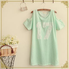 Fairyland - Cutout Shoulder Printed T-Shirt