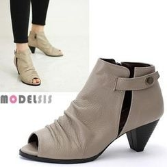 MODELSIS - Genuine Leather Peep-Toe Ankle Boots