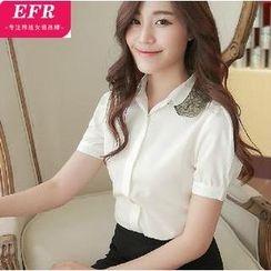 Eferu - Appliqué Short-Sleeve Chiffon Shirt