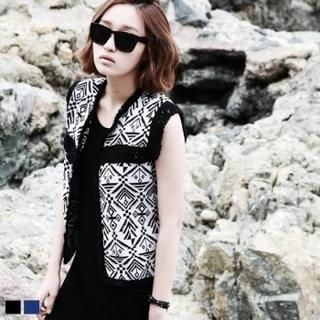 MAGJAY - Open-Front Fringe-Accent Ethic-Patterned Vest