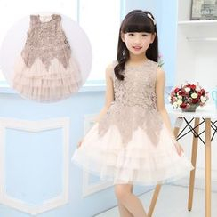 Pegasus - Kids Crochet Lace Panel Layered Tulle Dress