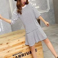 Cheer Mom - Maternity Striped T-Shirt Dress