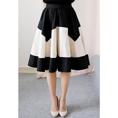 MyFiona - Contrast-Trim Flare Skirt