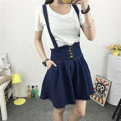 Fashion Street - High Waist Suspender Skirt