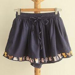 HANIA - 猫猫印花短裤