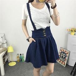 Fashion Street - High Waist Suspender Skirt