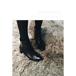 ATTYSTORY - Faux-Leather Ankle Boots
