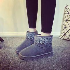 Laceuplux - Lace Trim Short Snow Boots