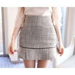 Marlangrouge - Inset Shorts Tweed Mini Skirt
