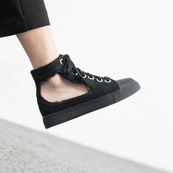 VIVIER - Distressed Lace-Up High Sneakers