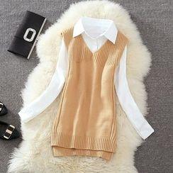 Clementine - 套裝: 純色襯衫 + 純色針織馬甲