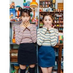 icecream12 - Turtle-Neck Striped T-Shirt
