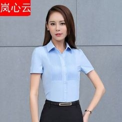 Skyheart - 套装: 细褶短袖西装衬衫 + 短裙