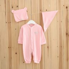 MOM Kiss - Baby Set : Plain Bodysuit + Hat + Handkerchief