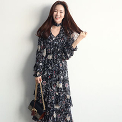 NANING9 - Floral Tiered Long Dress with Sash
