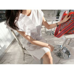 MARSHMALLOW - Cap-Sleeve Ruffled Dress