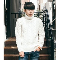 ABOKI - Turtle-Neck Cable-Knit Sweater