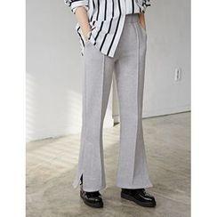 FROMBEGINNING - Slit-Side Fleece-Lined Pants