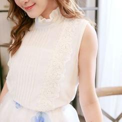 Tokyo Fashion - Sleeveless Lace Panel Chiffon Top