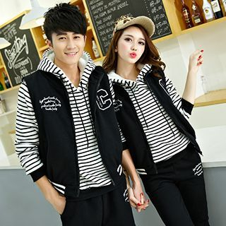 Lovebirds - Set: Couple Striped Hooded Top + Vest + Pants