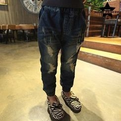 Rakkaus - Distressed Gather-Cuff Jeans