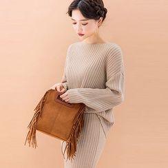 chuu - Set: Drop-Shoulder Rib-Knit Top + Long Skirt
