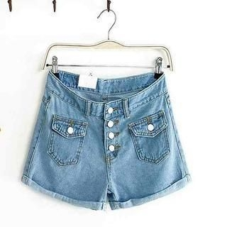 Flower Idea - Cuffed Denim Shorts