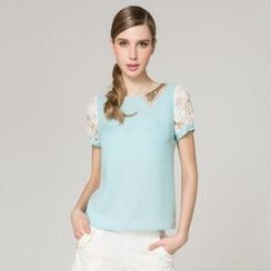 O.SA - Sequined-Collar Lace-Sleeve Blouse