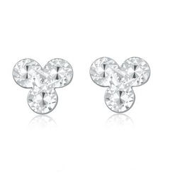 MaBelle - 14K/585 White Gold Three Petal Flower Stud Earrings