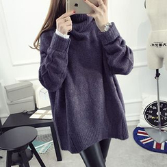 FR - Turtleneck Chunky Knit Long Sweater