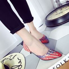Wello - Woven Pointy Kitten Heels